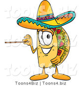 Vector Illustration of a Cartoon Taco Mascot Holding a Pointer Stick by Toons4Biz