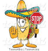 Vector Illustration of a Cartoon Taco Mascot Holding a Stop Sign by Toons4Biz