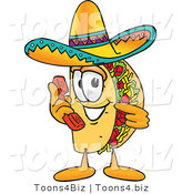 Vector Illustration of a Cartoon Taco Mascot Holding a Telephone by Toons4Biz