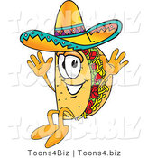 Vector Illustration of a Cartoon Taco Mascot Jumping by Toons4Biz