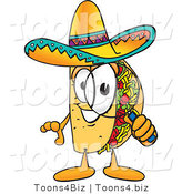 Vector Illustration of a Cartoon Taco Mascot Looking Through a Magnifying Glass by Toons4Biz