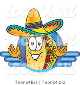 Vector Illustration of a Cartoon Taco Mascot on a Blank Blue Logo by Toons4Biz