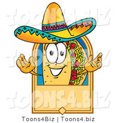 Vector Illustration of a Cartoon Taco Mascot on a Blank Tan Label, Logo or Sign by Toons4Biz