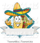 Vector Illustration of a Cartoon Taco Mascot over a Blank White Banner on a Label by Toons4Biz