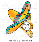 Vector Illustration of a Cartoon Taco Mascot Peeking Around a Corner by Toons4Biz