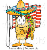 Vector Illustration of a Cartoon Taco Mascot Pledging Allegiance to an American Flag by Toons4Biz