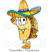 Vector Illustration of a Cartoon Taco Mascot Pointing Upwards by Toons4Biz