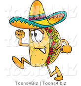 Vector Illustration of a Cartoon Taco Mascot Running by Toons4Biz