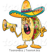 Vector Illustration of a Cartoon Taco Mascot Screaming into a Megaphone by Toons4Biz