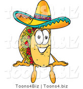 Vector Illustration of a Cartoon Taco Mascot Sitting by Toons4Biz