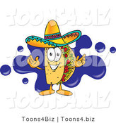 Vector Illustration of a Cartoon Taco Mascot Standing in Front of a Blue Paint Splatter on a Business Logo by Toons4Biz