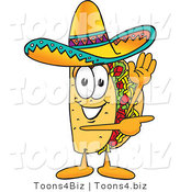 Vector Illustration of a Cartoon Taco Mascot Waving and Pointing by Toons4Biz