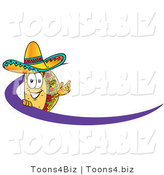 Vector Illustration of a Cartoon Taco Mascot Waving and Standing Behind a Purple Dash on an Employee Nametag or Business Logo by Toons4Biz