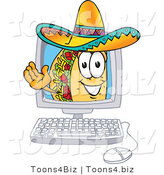 Vector Illustration of a Cartoon Taco Mascot Waving from Inside a Computer Screen by Toons4Biz