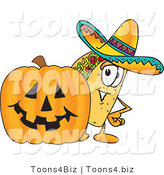 Vector Illustration of a Cartoon Taco Mascot with a Carved Halloween Pumpkin by Toons4Biz
