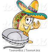 Vector Illustration of a Cartoon Taco Mascot with a Computer Mouse by Toons4Biz
