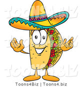 Vector Illustration of a Cartoon Taco Mascot with Welcoming Open Arms by Toons4Biz