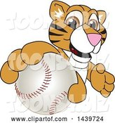 Vector Illustration of a Cartoon Tiger Cub Mascot Grabbing a Baseball by Toons4Biz