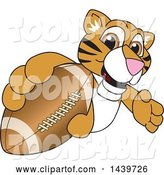 Vector Illustration of a Cartoon Tiger Cub Mascot Grabbing a Football by Toons4Biz