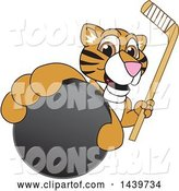 Vector Illustration of a Cartoon Tiger Cub Mascot Grabbing a Hockey Puck and Holding a Stick by Toons4Biz