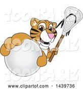 Vector Illustration of a Cartoon Tiger Cub Mascot Grabbing a Lacrosse Ball and Holding a Stick by Toons4Biz