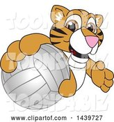 Vector Illustration of a Cartoon Tiger Cub Mascot Grabbing a Volleyball by Toons4Biz