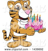 Vector Illustration of a Cartoon Tiger Cub Mascot Holding a Birthday Cake by Toons4Biz