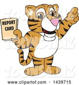 Vector Illustration of a Cartoon Tiger Cub Mascot Holding a Report Card by Toons4Biz