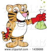 Vector Illustration of a Cartoon Tiger Cub Mascot Holding a Science Flask by Toons4Biz