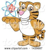 Vector Illustration of a Cartoon Tiger Cub Mascot Holding an Atom by Toons4Biz