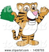 Vector Illustration of a Cartoon Tiger Cub Mascot Holding Cash Money by Toons4Biz