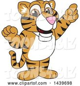 Vector Illustration of a Cartoon Tiger Cub Mascot Holding up a Finger by Toons4Biz