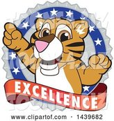 Vector Illustration of a Cartoon Tiger Cub Mascot on an Excellence Badge by Toons4Biz