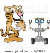 Vector Illustration of a Cartoon Tiger Cub Mascot Operating a Robot by Toons4Biz