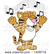 Vector Illustration of a Cartoon Tiger Cub Mascot Singing by Toons4Biz