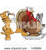 Vector Illustration of a Cartoon Tiger Cub Mascot Stepping on a Scale While a Turkey Weighs Himself by Toons4Biz