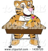Vector Illustration of a Cartoon Tiger Cub Mascot Taking a Quiz by Toons4Biz
