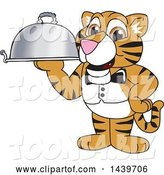 Vector Illustration of a Cartoon Tiger Cub Mascot Waiter Holding a Cloche Platter by Toons4Biz