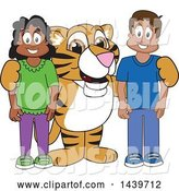 Vector Illustration of a Cartoon Tiger Cub Mascot with Happy Students by Toons4Biz