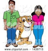 Vector Illustration of a Cartoon Tiger Cub Mascot with Happy Teachers or Parents by Toons4Biz