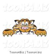 Vector Illustration of a Cartoon Tiger Mascot Behind a Blank Sign by Toons4Biz