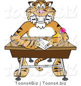 Vector Illustration of a Cartoon Tiger Mascot Doing Homework at a Desk by Toons4Biz
