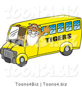 Vector Illustration of a Cartoon Tiger Mascot Driving a Bus by Toons4Biz