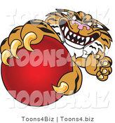 Vector Illustration of a Cartoon Tiger Mascot Grabbing a Red Ball by Toons4Biz