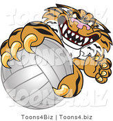 Vector Illustration of a Cartoon Tiger Mascot Grabbing a Volleyball by Toons4Biz