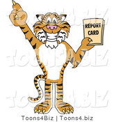 Vector Illustration of a Cartoon Tiger Mascot Holding a Report Card by Toons4Biz