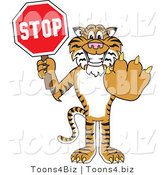 Vector Illustration of a Cartoon Tiger Mascot Holding a Stop Sign by Toons4Biz