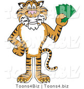 Vector Illustration of a Cartoon Tiger Mascot Holding Cash by Toons4Biz