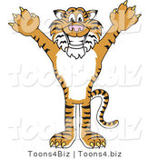 Vector Illustration of a Cartoon Tiger Mascot Holding His Arms up by Toons4Biz