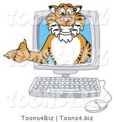 Vector Illustration of a Cartoon Tiger Mascot in a Computer by Toons4Biz
